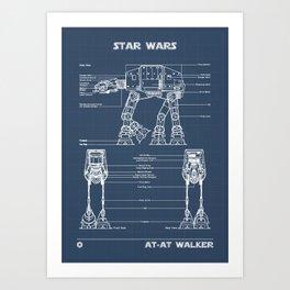 At AT Walker Blueprint Art Print