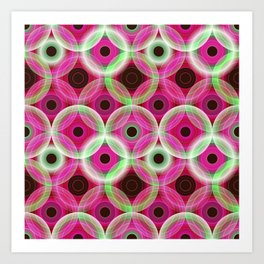 Circles | pink and green Art Print