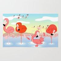 flamingos Area & Throw Rugs featuring flamingos by Alapapaju