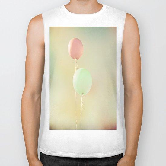 Balloons in Tie-Dyed Sky Biker Tank
