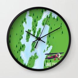 Lake Champlain US Canada travel poster Wall Clock