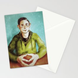Man, staring Stationery Cards