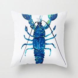 Navy lobster Throw Pillow