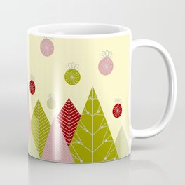 Trees and Ornaments Triangles and Circles Christmas Illustration Coffee Mug