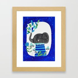 elephant with raindrops in blue watercolor illustration Framed Art Print