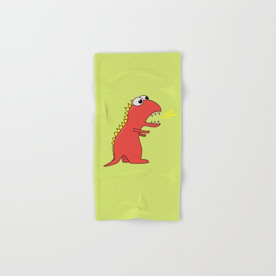 Cute Cartoon Dinosaur With Fire Breath Hand & Bath Towel