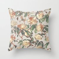 bedding Throw Pillows featuring Soft Vintage Rose Pattern by micklyn