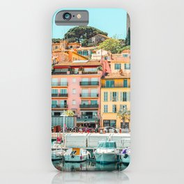 Cannes City Print, Luxurious Yachts And Boats, French Riviera, Travel Print, City Marina Port In France Poster, Colored Houses Photography, Colorful Home, Home Decor, Wall Art Print iPhone Case
