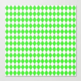 Bright Neon Green and White Harlequin Diamond Check Canvas Print