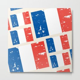 France Flags Pattern Metal Print