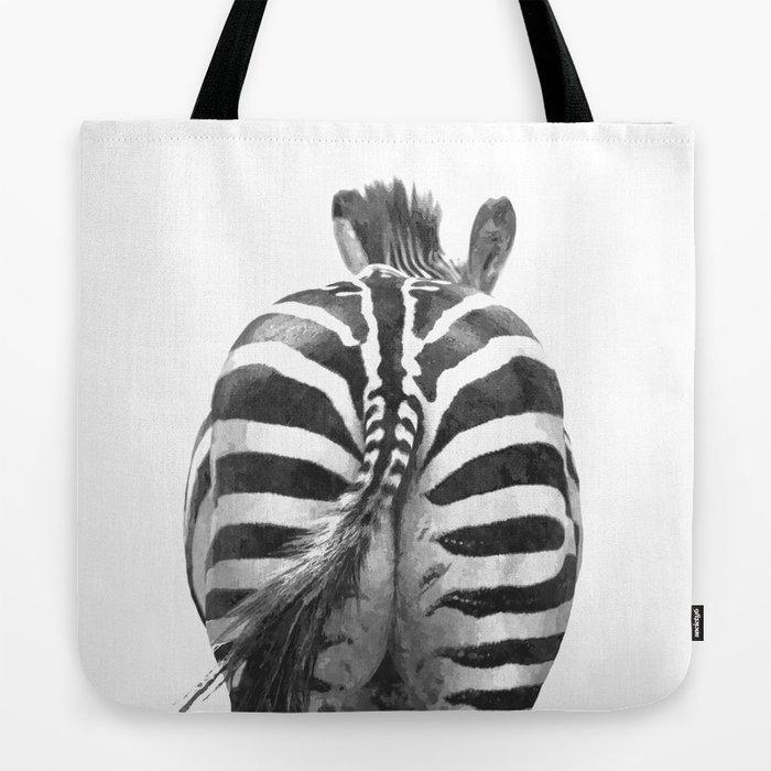 Black and White Zebra Tail Tote Bag