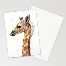 Giraffe Watercolor Cute Baby Animals Whimsical Art Stationery Cards