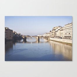 The Arno, from Ponte Vecchio - Florence, Italy Canvas Print