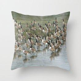 Canada Geese Partial Frozen Lake Throw Pillow