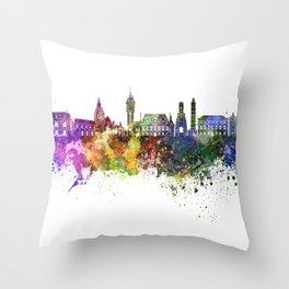 Calais skyline in watercolor background Throw Pillow