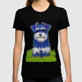 Colorful Miniature Schnauzer Dog Pet Portrait T-shirt