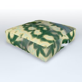 Wattle on green and yellow kaleidoscope Outdoor Floor Cushion