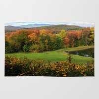 vermont Area & Throw Rugs featuring Warren Vermont Foliage by Vermont Greetings