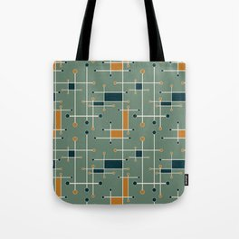 Intersecting Lines in Olive, Blue-green and Orange Tote Bag