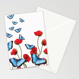 red poppies Flowers with blue butterflies Stationery Cards
