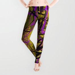 Yellow & Purple Energy Swarm Abstract Leggings