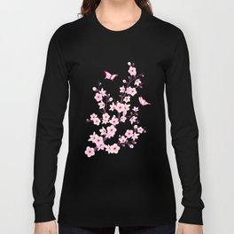 Cherry Blossoms Pink Black Long Sleeve T-shirt