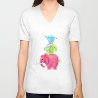 freeminds V-neck T-shirts featuring Elephants by Freeminds