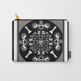 Grey, Black and White Chess Mandala Queens Carry-All Pouch