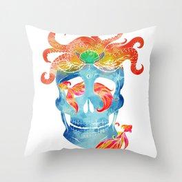 Sally sells sea skulls by the seashore Throw Pillow