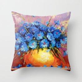 Bouquet of CORNFLOWERS Throw Pillow