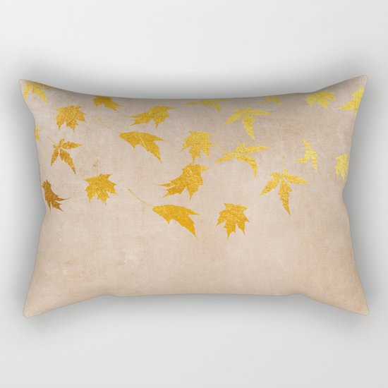 Gold leaves on grunge background - Autumn Sparkle Glitter design #Society6 Rectangular Pillow