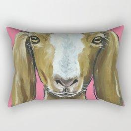 Goat Art, Farm Animal Painting, Cute Animal Art Rectangular Pillow