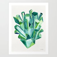 emerald Art Prints featuring Emerald Watercolor by Cat Coquillette