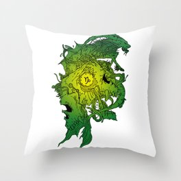 Capricorn Skull Zodiac Sign For December and January Birth Day Gift Throw Pillow