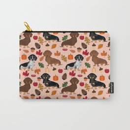 Dachshunds Autumn Cute florals pumpkin pinecones fall dogs cute doxie dog design Carry-All Pouch