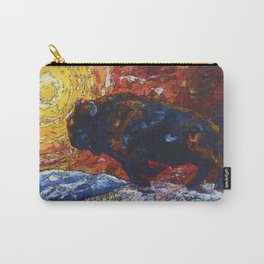 Wild the Storm Bison Painting by OLena Art Carry-All Pouch