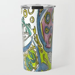 Jellyfish Belly Fluorescent Underwater Sea Abstract Drawing Travel Mug