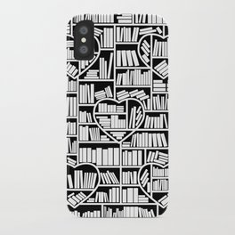 Book Lover Heart Library Pattern iPhone Case