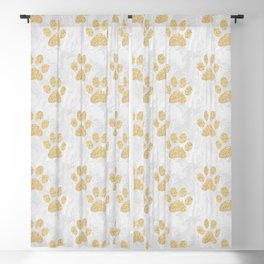 Gold Paw Prints on Marble Blackout Curtain