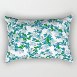 Summer Blues, Floral Pattern Rectangular Pillow