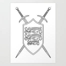 Crossed Swords and Shield Outline Art Print