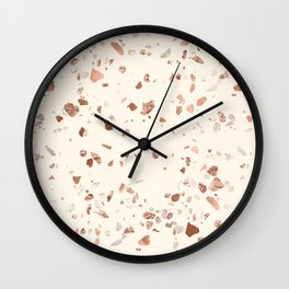 Rose Gold and Cream Terrazzo Wall Clock