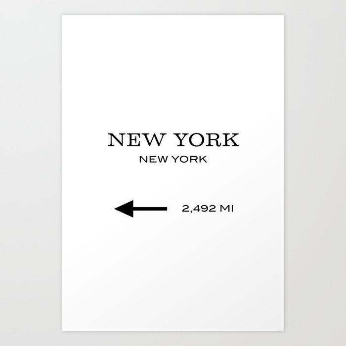 This Way To New York Typography Art Print