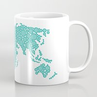 polkadot Mugs featuring World Map - Polkadot Atlas (Cyan) by Rothko