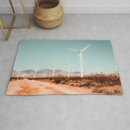 Wind turbine farm in the desert at Kern County California USA Rug