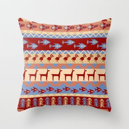 Inca Animals Fish and Birds Pattern Throw Pillow