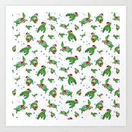Holiday Sea Turtles Art Print