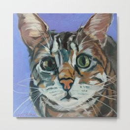 Green Eyed Cat Portrait Metal Print