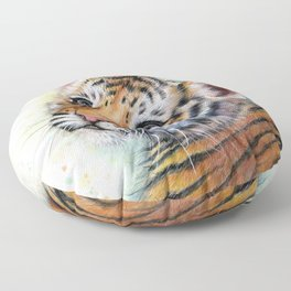 Tiger Cub Watercolor Floor Pillow