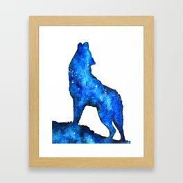 Howling Wolf | Space Wolf | Double Exposure Wolf | Wolf Painting | Blue Wolf Framed Art Print